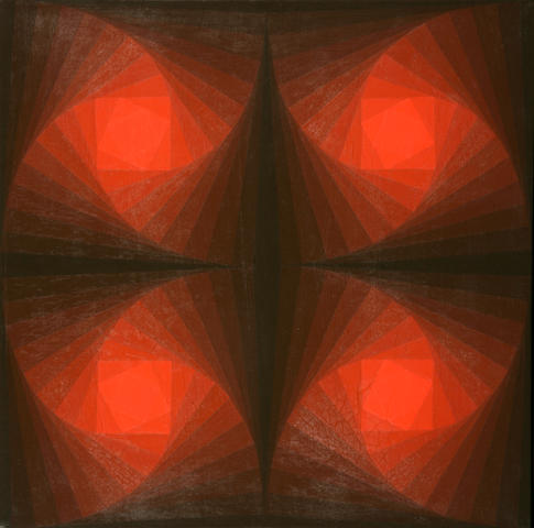 Hannes Beckmann (German, 1909-1977) Red Centers, 1970-1971 20 1/4 x 20 1/4in