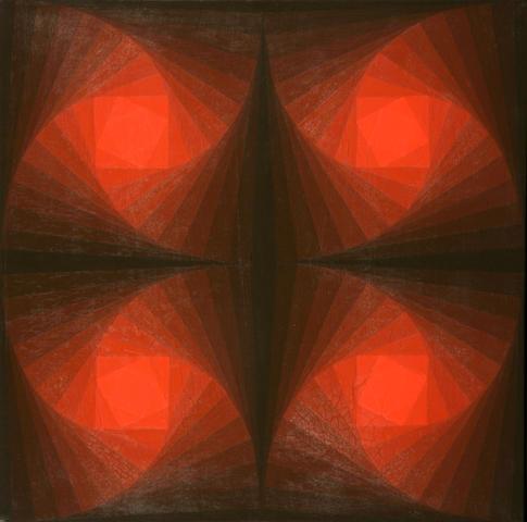 Hannes Beckmann (German, 1909-1977) Red Centers, 1970-1971 20 1/4 x 20 1/4in