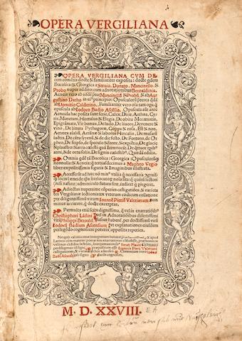 VIRGIL. 70-19 B.C.E. Opera Vergiliana cum decem cometis docte & familiariter exposita. BOUND WITH: Aeneis Vergiliana. Lyon: Jacob Mareschal, [1527]-1528.