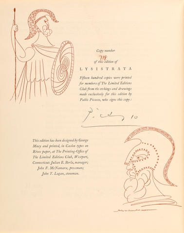 PICASSO, PABLO. 1881-1973. ARISTOPHANES. Lysistrata. New York: Limited Editions Club, 1934.