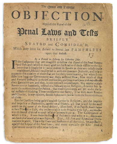 Penn, William.  The Great and Popular Objection against the repeal of the Penal Laws....L: 1688.  8 pp.  wraps.