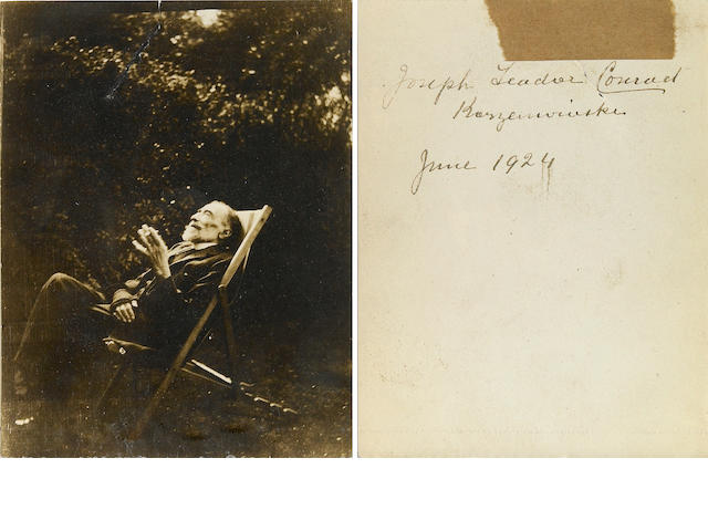 Conrad, Joseph.  3 x 5 in silver print, signed on verso with Polish name, 1924.