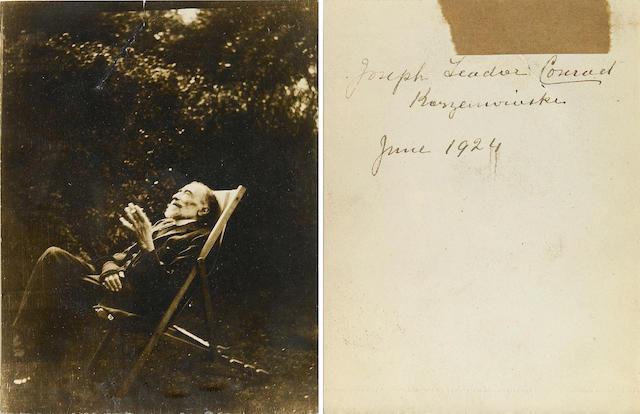 [CONRAD, JOSEPH.] Photograph of Conrad seated outside, smoking,