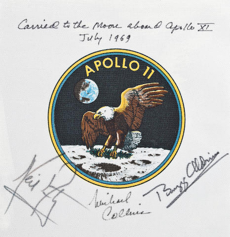 FLOWN APOLLO 11 BETA—CM PILOT'S OWN. Flown Apollo 11 crew mission emblem, 3½ inches in diameter, printed on Beta cloth, printed on Beta cloth,