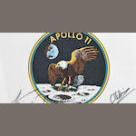 Flown beta cloth Apollo XI crew patch, signed by all three members of the Apollo XI mission