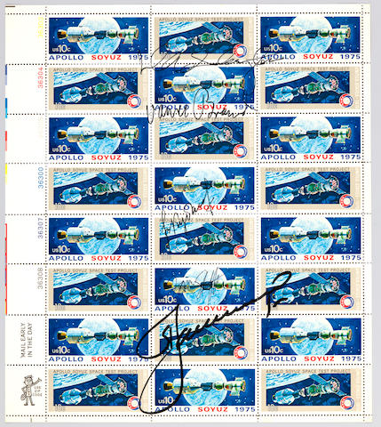 "ASTP CREW-SIGNED STAMP SHEET. Full sheet of 10-cent ""Apollo Soyuz 1975"" postage stamps."