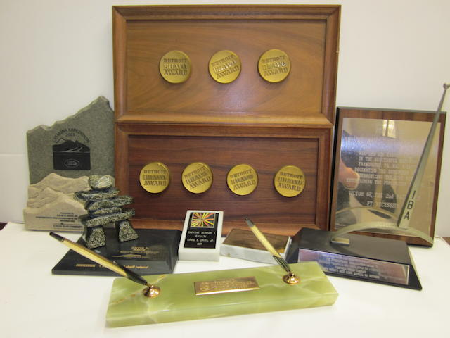 A quantity of miscellaneous journalism awards presented to David E. Davis, Jr.,