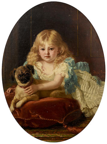 August Hess (German, 1834-1893) Best friends oval 31 7/8 x 24 in. (81.2 x 61 cm.)
