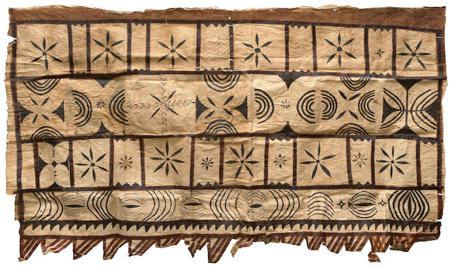 A rare Samoan Tapa cloth together with shell necklaces