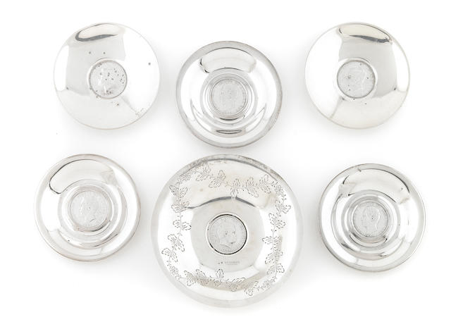 A group of Portuguese coin-inset silver dishes 20th century