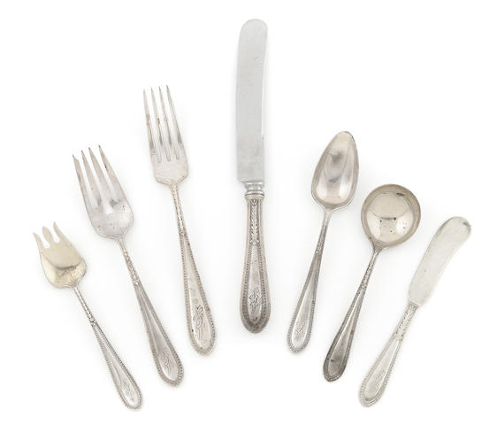 A Gorham sterling silver part 'Edgeworth' flatware service for twelve First half 20th century