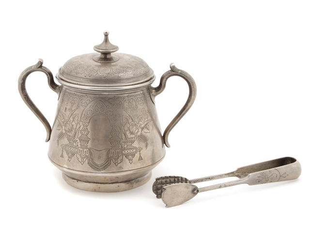 A Russian 84 standard silver covered sugar bowl Cyrillic maker's mark IS;  assayer A Romanov, Moscow, 1890