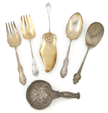 A collection of American sterling silver serving flatware Late 19th - 20th century