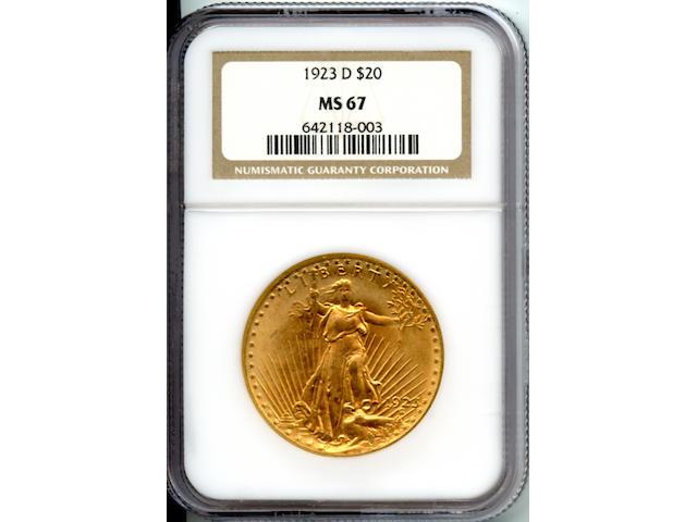 1923-D $20 MS67 NGC