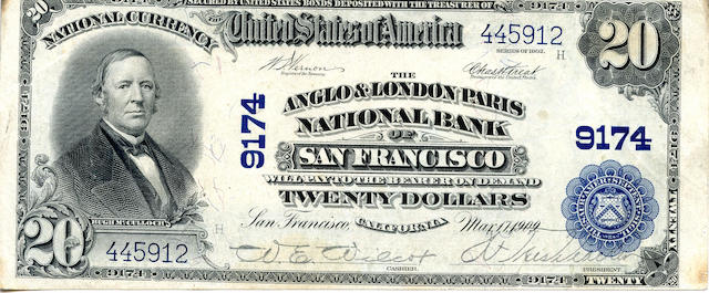 Fr. 652 $20 The Anglo & London Paris NB of San Francisco 1902