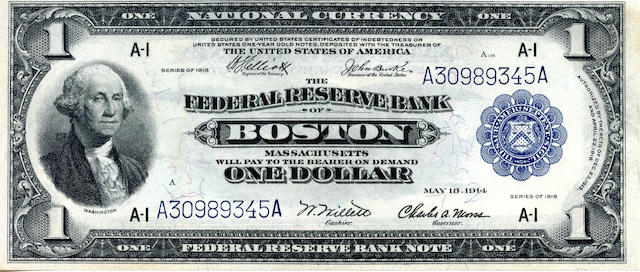 1918 $1 Federal Reserve Note [Boston]