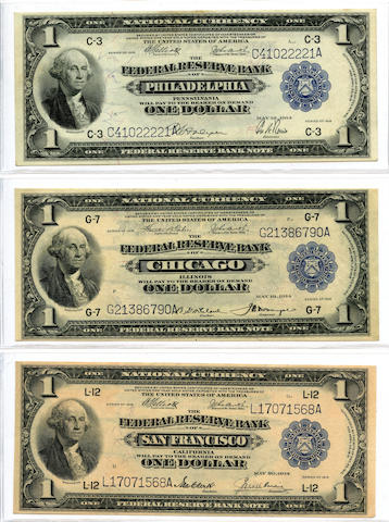 1918 $1 Federal Reserve Bank Notes (3)