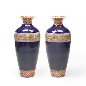 A pair of massive kutani jars