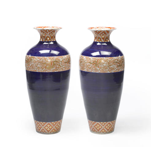 A pair of massive Imari jars Meiji period