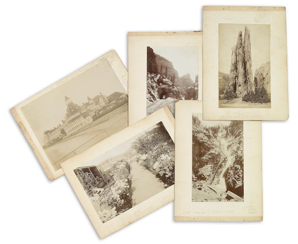 JACKSON, WILLIAM HENRY.  1843-1942. 7 Albumen print photographs, each approximately 4 by 7 inches, all laid down to larger mount, of various views in the west, including
