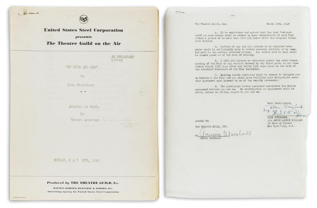 Steinbeck, John.  Radio broadcast script of Of Mice and Men, with contract signed secretarially.