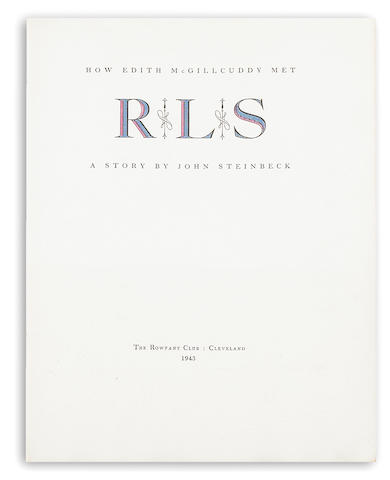 Steinbeck, John.  How Edith MacGillicuddy met RLS.  Cleveland: 1943.  lt ed.