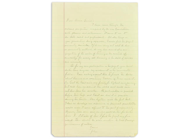 "STEINBECK, JOHN. 1902-1968. Autograph Letter Signed (""John""), 1 p, legal folio, n.p., n.d. [but 1961], to Annie Laurie Williams,"