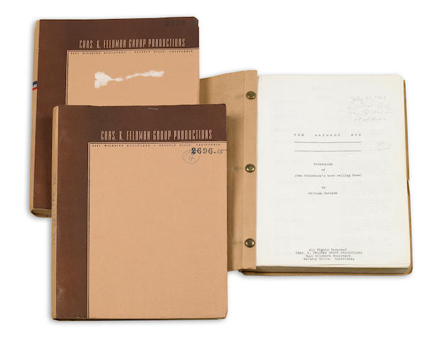 Steinbeck, John. 3 copies of William Saroyan's screenplay for The Wayward Bus, in custom clamshell box.