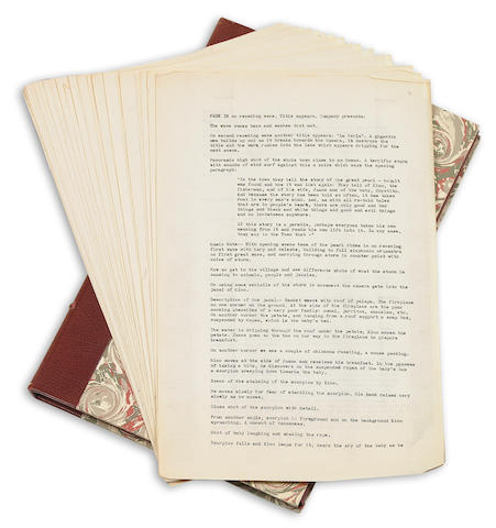 STEINBECK, JOHN. 1902-1968. Typed Carbon, 27 pp, legal folio, n.p., [1945], being a portion of Steinbeck's draft of the screenplay for La Perla (The Pearl), including suggestions for music,