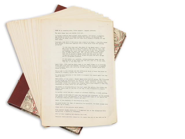Steinbeck, John.  The Pearl, draft of screenplay by Steinbeck, in custom case.