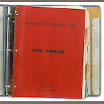 "Foote, Horton.  The Chase.  Screenplay by Lillian Hellman. Copy marked ""final script"" and dated March 30, 1965.  In 3 ring binder with tabs.  Possibly Brando's script, as his character's lines are indicated in red; also possibly used by his assistant or costume asst, as continuity notes regarding costumes are found throughout."