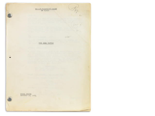"Williams, Tennessee.  Shooting script for The Rose Tattoo, marked ""Final White,"" October 12, 1954, with ""RAy"" in pencil to upper cover, apparently copy used by someone on the sound effects team, with notations throughout."