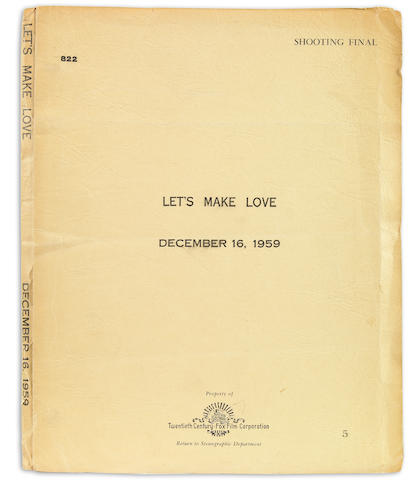 Norma Krasna.  Let's Make Love screenplay, pp 1-77, marked Shooting final, dated December 16, 1959. In 20th C Fox wraps.