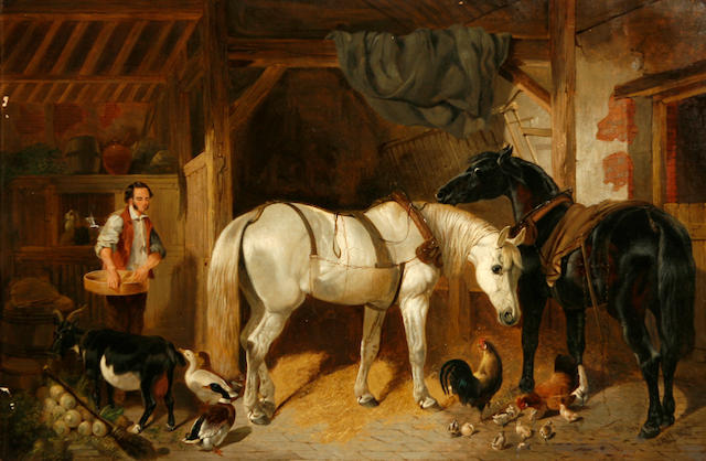 Follower of John Frederick Herring, Snr. (British, 1795-1865) A stable interior with horses, chickens and a goat 20 x 30 1/4in