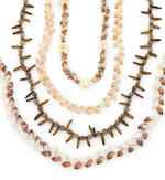 Tapa Cloth and Four Shell and Bead Necklaces, Samoa Islands