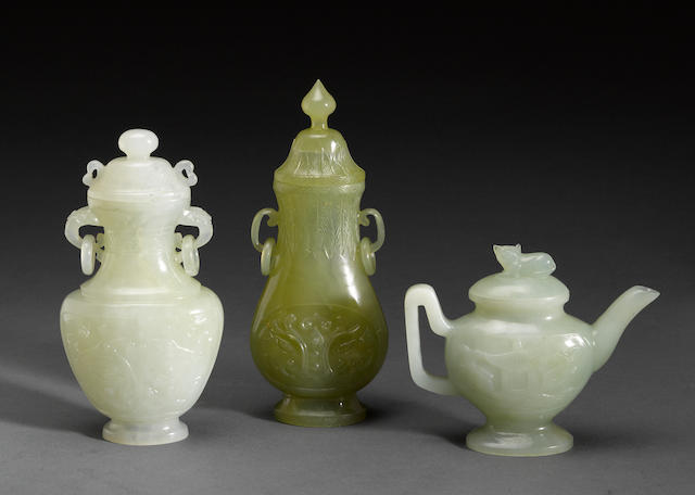A group of three Chinese hardstone covered vessels