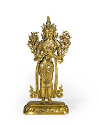 A gilt copper alloy figure of Maitreya Qing dynasty, 17th century