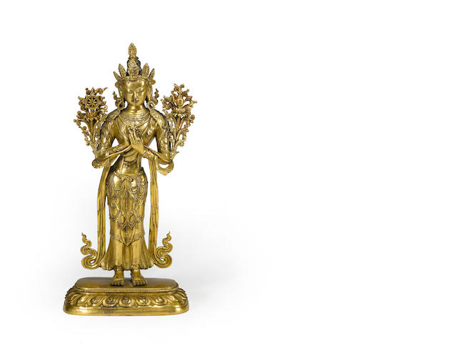 A Sino Tibetan copper alloy figure of Maitreya 18th century