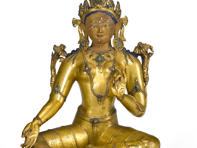 A gilt copper alloy figure Syamatara Tibet, 14th century