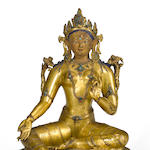 A Tibeto-Chinese gilt copper alloy figure of Syamatara