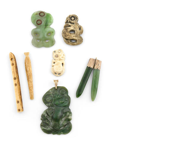 Group of Maori Figural Pendants and Curios, New Zealand