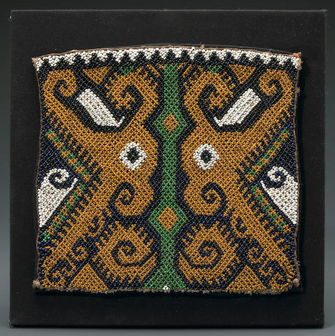 Dayak Baby-Carrier Bead Work Panel, East Kalimantan, Borneo Island