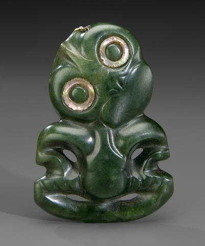 Maori Greenstone Amulet, hei tiki, New Zealand
