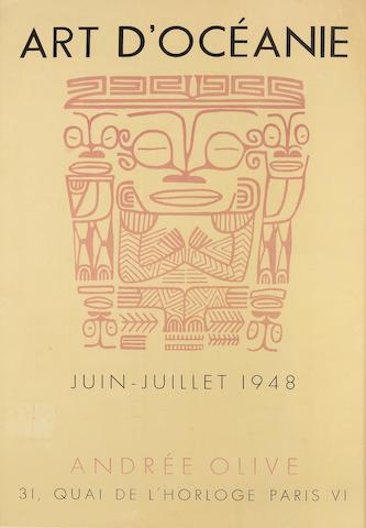 """Rare French Exhibition Poster """"ART D'OCÉANIE"""" Andrée Olive Paris, Juin - Juillet 1948"""