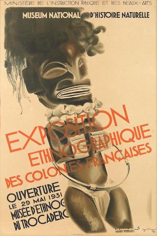 """Rare French Exhibition Poster """"EXPOSITION ETHNOGRAPHIQUE DES COLONIES FRANCAISES"""" Museum National D'Histoire Naturelle, Le 20 Mai 1931"""