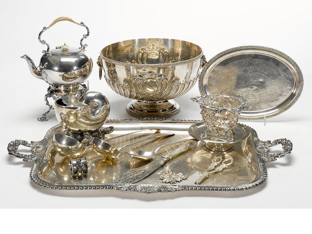 A group of plated table articles and flatware