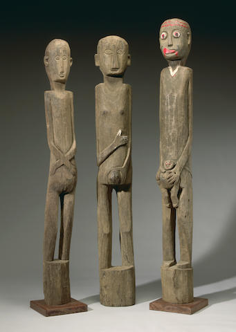 Group of Three Dayak Ironwood Figures, Borneo Island