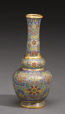 A miniature cloisonne vase, Qianlong mark