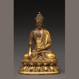 A gilt bronze figure of Shakyamun 18th century