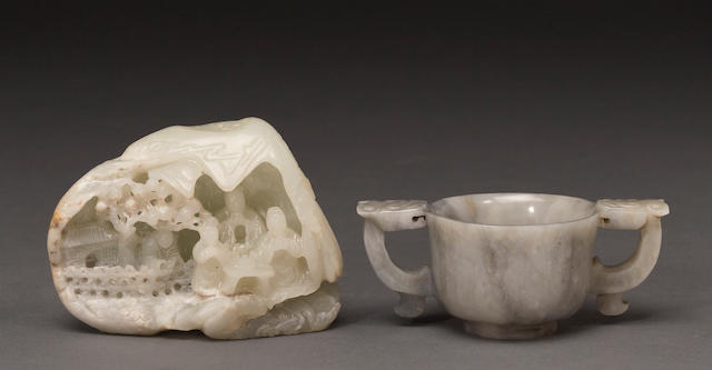 Two jade carvings, one gray dragon handled libation cup and one small mountain with figural and colligraphy decoration